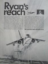 7/1970 PUB TELEDYNE RYAN AERONAUTICAL FIREBEE II TARGET S-3A DOPPLER ORIGINAL AD