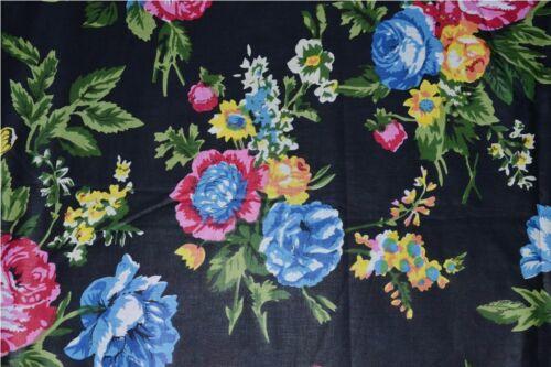 Negro Estampado De Flores Tela de algodón indio sanganeri vestido impreso Material 2.5 YD