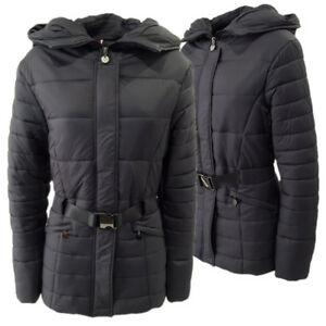 comprare popolare 75e69 535e3 Dettagli su Piumino giubbino giubbotto giacca donna lungo slim con  cappuccio cintura