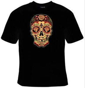 Men/'s Biker Skull Indian Chief Head Dress Dia De Los Muertos T Shirt S-3XL