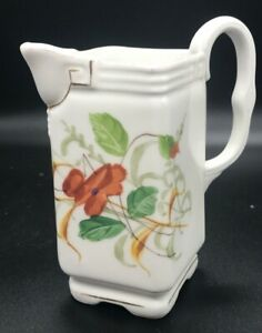 Porcelain-Ceramic-Marked-Square-Pitcher-Creamer-85-Floral-with-Gold-Trim-Handle