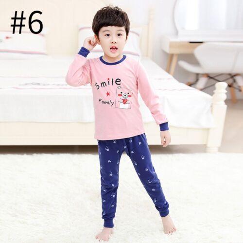 Children/'s Autumn Pajamas Long Sleeve Cotton Kids Sleepwear Soft Clothes 1Set