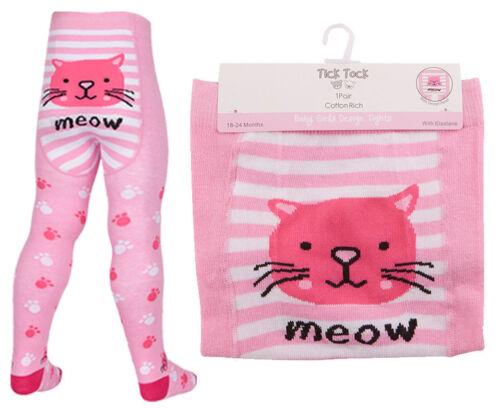 Baby Girls TICK TOCK Pink Grey Novelty animal Cat Panda Owl Cotten Tights 45b112