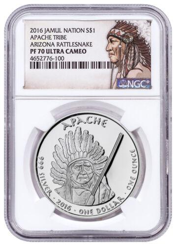 2016 Native Silver Dollar AZ Apache Rattlesnake 1 oz Silver NGC PF70 UC SKU52760