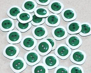 1 lot de 5 boutons vintages pop vert et blanc 20mm mercerie couture button