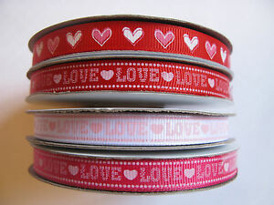 10mm-grosgrain-ribbon-LOVE-HEARTS-craft-sewing-scrapbooking-VALENTINES-gift