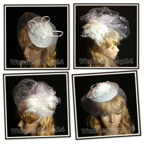 Mariée Bijoux de cheveux épingle à cheveux Fascinator plumes blanc nouveau