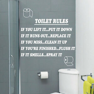Toilet Rules Bathroom Art Wall Quote Stickers Wall Decals Bathroom