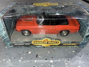 Ertl American Muscle 1969 Chevy Camaro SS 396 Convertible 1:18 Die Cast ~ Orange