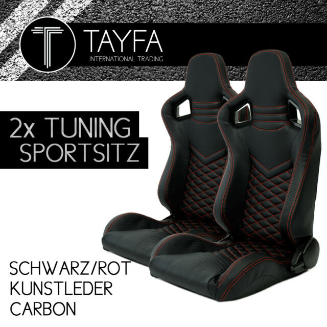 2x Autosportsitz Sportsitz Racingseat Schwarz Rot Kunstleder Carbon Schalensitz