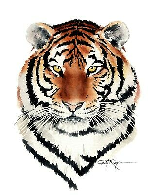 Tiger 11x14 signed art PRINT from painting RJK