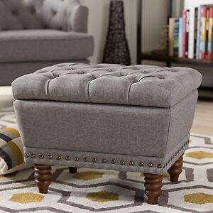 Image Is Loading Light Grey Fabric Upholstered Walnut Wood Finished Button