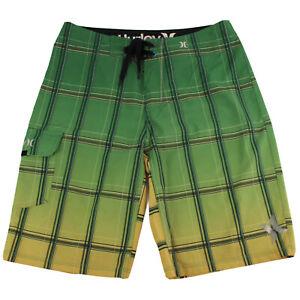 Hurley-Mens-Board-Shorts-Size-30-Green-Yellow-Black-Check-Surf-Beach-Swim