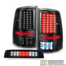 2009-2017 Dodge Ram 1500 Blk Full LED Tail Lights+Smoke LED 3rd Brake Cargo Lamp