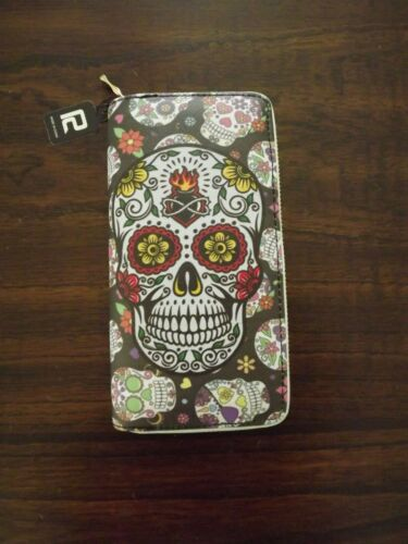 Sugar Skull Women All Over Print Zip Around Wallet 12 Card 3 Compartment Wallet