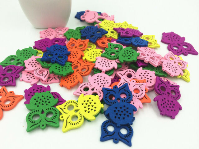 Free 20 pcs hollow Owl Pattern Wooden Buttons Fit Sewing and Scrapbook 35MM