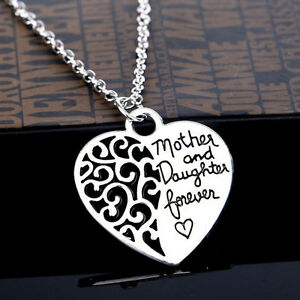 New-Ladies-Silver-Mother-and-daughter-Forever-034-Heart-Pendant-Necklace-18-034-jbG