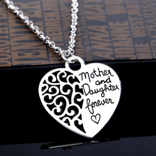"""Women Lady Silver Mother And Daughter Forever Heart Pendant Necklace 18/""""Cha TPI"""