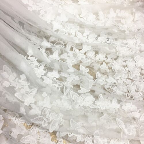3D Butterfly Embroidery Tulle Lace Material Wedding Dress 59\'\' Wide ...
