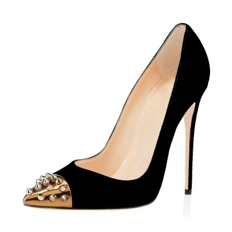 Damenpumps Spitz High Heels Faux-Wildleder Stilettos OL-Pumps Hochzeit Gr.35-47