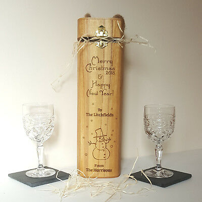 Personalised Wooden Wine Gift Box Laser Engraved Premium Quality Ebay