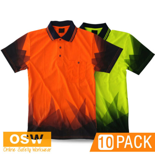 10 X HI VIS WORK COOL DRY SAFETY SUBLIMATED TRADIES ORANGEYELLOW POLO SHIRTS
