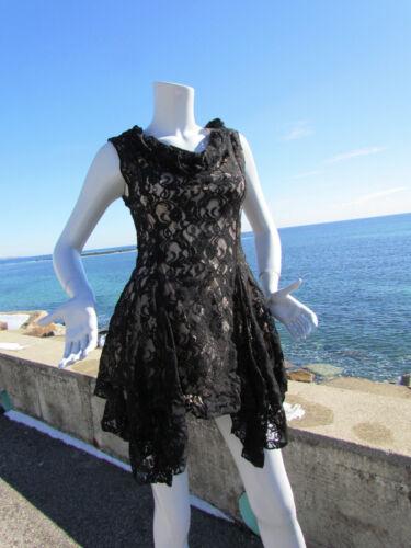 NEW M THE PYRAMID COLLECTION top tumbling black lace handkerchief hem tunic mini