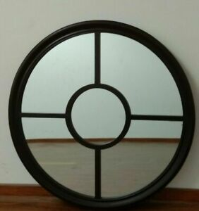 Contemporary-Style-Dark-Chocolate-Round-Grid-Mirror-80cm