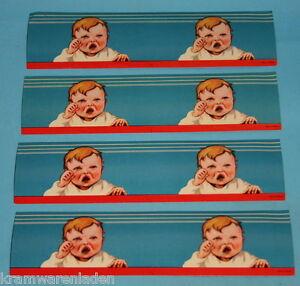 4x-uralt-Lackbild-weinendes-Baby-Glanzbild