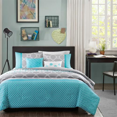 FULL QUEEN MODERN CONTEMPORARY BLUE TEAL AQUA  GREY CHEVRON COMFORTER SET TWIN