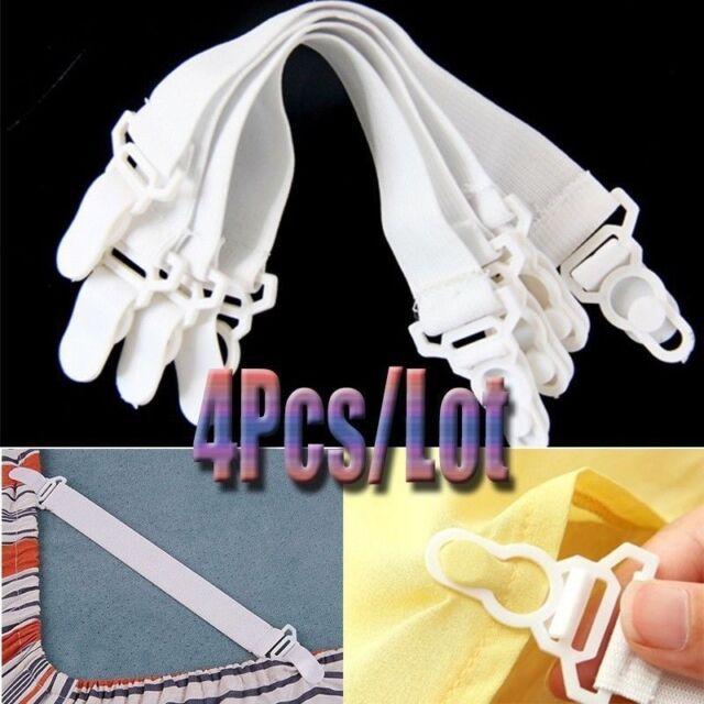 Bed Sheet Straps Grippers Elastic Suspenders fasteners Metal Clasp Short Corner