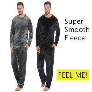 Mens-Gents-Fleece-Pyjama-Set-Pjs-Long-Sleeve-top-and-Bottoms-loungewear-smooth