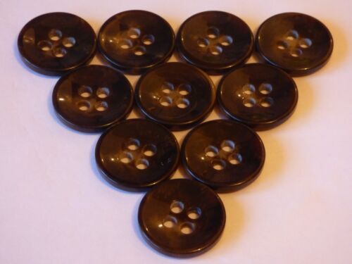 Large 27mm x 10 Dark Chocolate Brown 4 Hole Chunky Buttons COAT Jacket Cardigan
