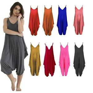 Womens Plain Lagenlook Strappy Playsuit Romper Harem Jumpsuit All In One Dress