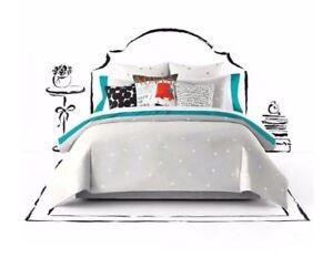 NEW-Kate-Spade-New-York-Polka-Deco-Dot-Full-Queen-Size-Comforter-SET-Gray-White