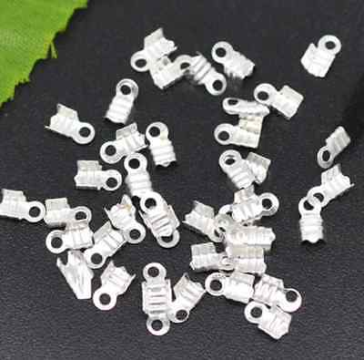 100pcs Silver Plated Looped End Caps Crimps Beads