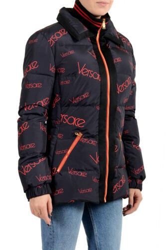 Details about  /Versace Women/'s Blue Logo Print Full Zip Down Parka Jacket sz S L