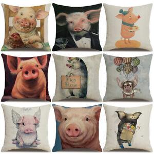 Am-Cute-Mascot-Pig-Pillow-Case-Linen-Cushion-Cover-Sofa-Bed-Home-Decor-Gift-Pro