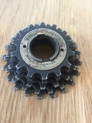 VINTAGE CYCLO COMPETITION FREEWHEEL 14-22 5 SPEED ENGLISH THREADED FRANCE NOS