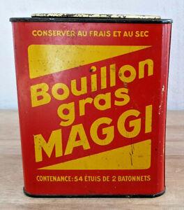Ancienne-Boite-Publicitaire-Maggi-en-Tole-Bouillon-Gras-Deco-Vintage-Collection