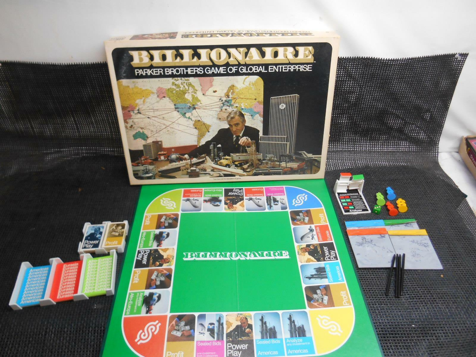 Old Vtg 1973 BILLIONAIRE BOARD GAME No. 43 Parker Brothers COMPLETE
