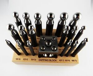 18 pc Doming Block and Punch Set made of Steel Dapping craft metal working tool