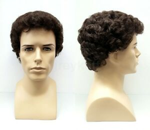 Details about Mens Short Curly Wig Brown
