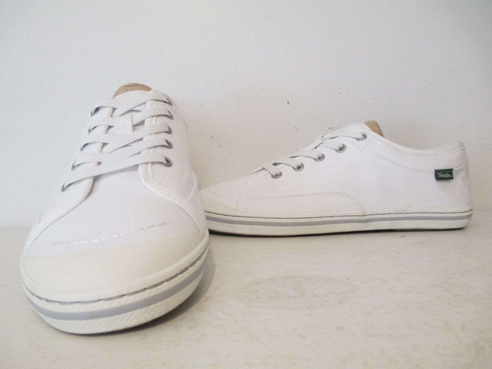 Simple Womens Satire Canvas Casual Low Fashion Sneakers White Sizes 7 8 9.5 WIDE