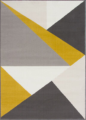 Contemporary Yellow Gray Abstract Geometric Rug Warm Non Shed Triangles Area Rug Ebay
