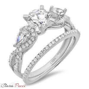 2-10-Carat-Round-Cut-Halo-Engagement-Ring-band-set-real-14k-White-Gold-Bridal