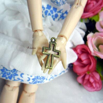 Doll Bjd Necklace DIY Making Crafts Antique Brass Pendant Mini Cross 5pcs Set