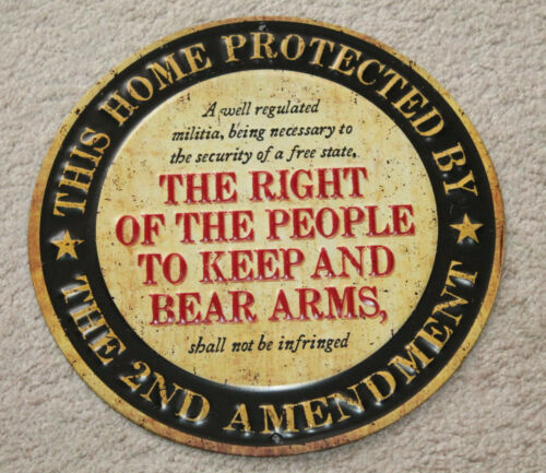 This Home Protected By 2nd Amendment Metal Signs Remington Winchester Colt NRA