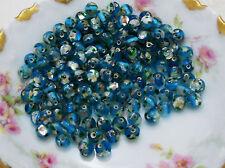 #630 Vintage Glass Beads Aqua Foil Givre Round 7mm Faceted Unique Silver CZECH