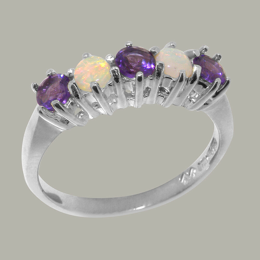 14k White gold Natural Amethyst & Opal Womens Eternity Ring - Sizes 4 to 12